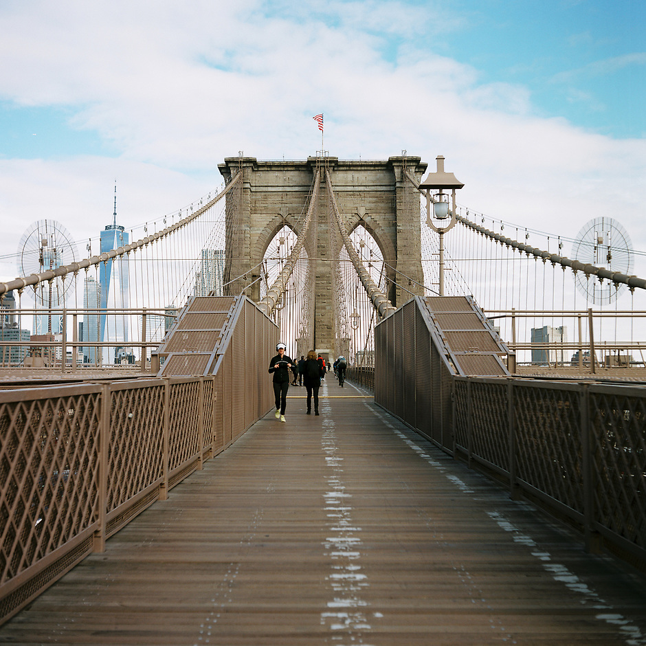 The Brooklyn Bridge is pictured facing West towards Lower Manhattan in New York on Monday, April 30, 2018. (Photo by James Brosher)