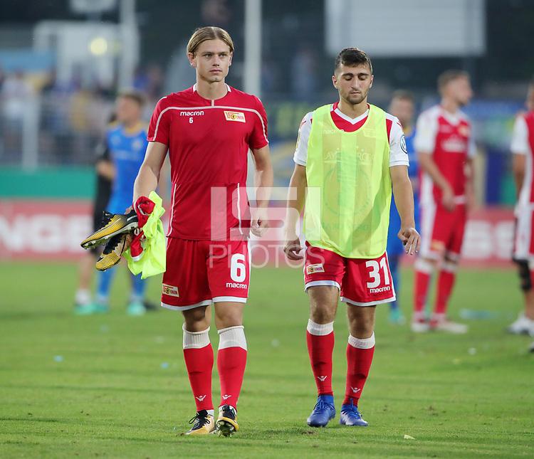 Julian Ryerson, Berkan Taz   <br /> / Sport / Football / DFB Pokal 1.round 3. Bundesliga 2.Bundesliga /  2018/2019 / 19.08.2018 / FC CZ Jena vs. 1.FC Union Berlin / DFL regulations prohibit any use of photographs as image sequences and/or quasi-video. /<br />       <br />    <br />  *** Local Caption *** © pixathlon<br /> Contact: +49-40-22 63 02 60 , info@pixathlon.de