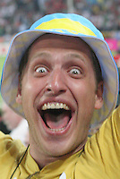A Ukraine national team screams for joy in Cologne World Cup stadium after Ukraine's final penalty kick defeated Switzerland by penalty kicks 3-0 in their second round FIFA World Cup match in Cologne, Germany on Monday, June 26th 2006.