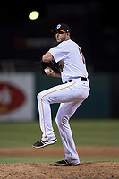 Fresno Grizzlies relief pitcher James Hoyt (58) prepares to deliver a pitch during a Pacific Coast League game against the Salt Lake Bees at Chukchansi Park on May 14, 2018 in Fresno, California. Fresno defeated Salt Lake 4-3. (Zachary Lucy/Four Seam Images)