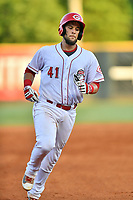 Greeneville Reds catcher Ernesto Libertore (41) rounds the bases after hitting a home run during a game against the Bluefield Blue Jays at Pioneer Park on June 30, 2018 in Greeneville, Tennessee. The Blue Jays defeated the Red 7-3. (Tony Farlow/Four Seam Images)