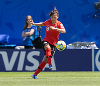 GRENOBLE, FRANCE - JUNE 12: Selgi Jang #16 of the Korean National Team traps the ball during a game between Korea Republic and Nigeria at Stade des Alpes on June 12, 2019 in Grenoble, France.