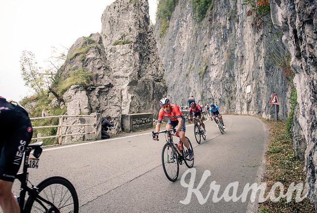 defending Lombardia champion Vincenzo Nibali (ITA/Bahrain-Merida) descending fast in the approach towards the Madonna del Ghisallo (754m)<br /> <br /> 113th Il Lombardia 2019 (1.UWT)<br /> 1 day race from Bergamo to Como (ITA/243km)<br /> <br /> ©kramon
