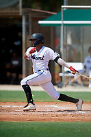 GCL Marlins Luis Arcaya (8) bats during a Gulf Coast League game against the GCL Astros on August 8, 2019 at the Roger Dean Chevrolet Stadium Complex in Jupiter, Florida.  GCL Astros defeated GCL Marlins 4-2.  (Mike Janes/Four Seam Images)