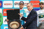 Overall Winner Turquoise Kristijan Durasek (CRO) Lampre-Merida at the end of Stage 8 of the 2015 Presidential Tour of Turkey running 124km from Istanbul to Istanbul. 3rd May 2015.<br /> Photo: Tour of Turkey/Mario Stiehl/www.newsfile.ie