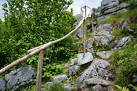 Steep trail in Lough Avalla Farm Loop trail, The Burren, County Clare, Ireland