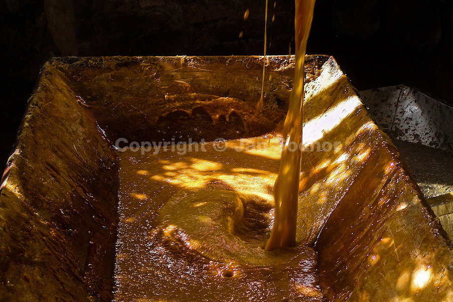 A hot sugar cane juice poured into a wooden tub during the processing of panela in a rural sugar cane mill (trapiche) in San Agustín, Colombia, 18 April 2004. Panela, a solid block of raw, unrefined sugar, is made by cooking and evaporation of the sugar cane juice into a golden, sticky syrup which is then poured into the wooden molds and allowed to solidify. Having the taste like a cross between molasses and brown sugar, panela is served as a hot or cold infusion (aguapanela). Due to the large amounts of proteins, vitamins and minerals and thus, panela is believed to have healing powers. Cheaper than sugar, it is consumed by the majority of Colombians and it is a major source of calories for children from families with low socioeconomic status. With more than 70,000 farms that cultivate sugarcane for mills, panela production is an important economic activity in the Colombian countryside, employing around 350,000 people and being the second largest source of jobs after agricultural coffee production.
