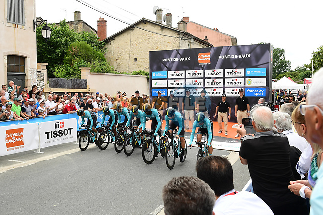 Vital Concept Cycling Club power off the start ramp during Stage 3 of the 2018 Criterium du Dauphine 2018 a Team Time Trial running 35km from Pont de Vaux to Louhans Chateaurenaud, France. 6th June 2018.<br /> Picture: ASO/Alex Broadway | Cyclefile<br /> <br /> <br /> All photos usage must carry mandatory copyright credit (© Cyclefile | ASO/Alex Broadway)