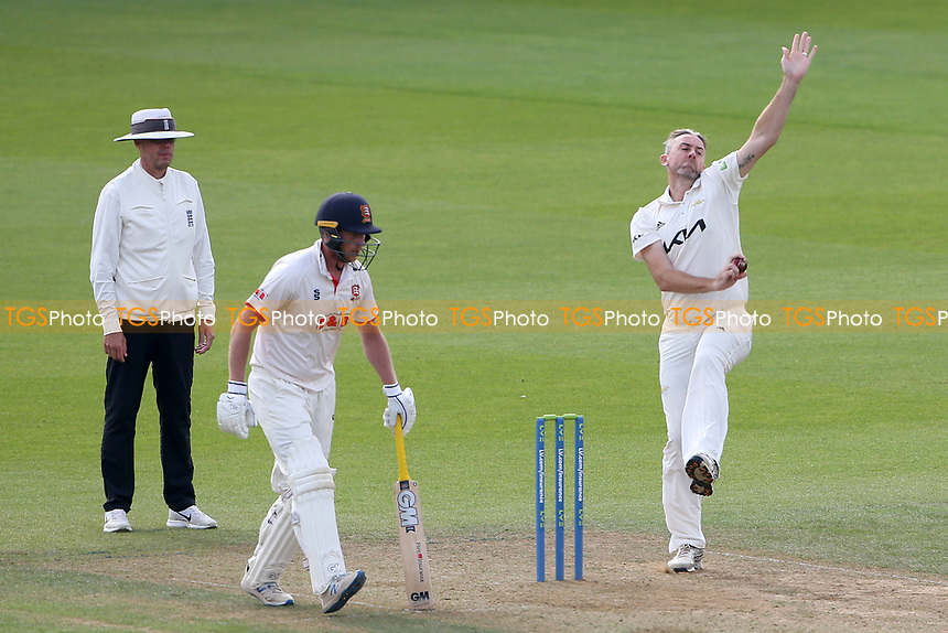 Rikki Clarke in bowling action for Surrey during Surrey CCC vs Essex CCC, LV Insurance County Championship Division 2 Cricket at the Kia Oval on 12th September 2021