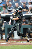 Vanderbilt Commodores outfielder JJ Bleday (51) swings the bat against the Michigan Wolverines during Game 2 of the NCAA College World Series Finals on June 25, 2019 at TD Ameritrade Park in Omaha, Nebraska. Vanderbilt defeated Michigan 4-1. (Andrew Woolley/Four Seam Images)