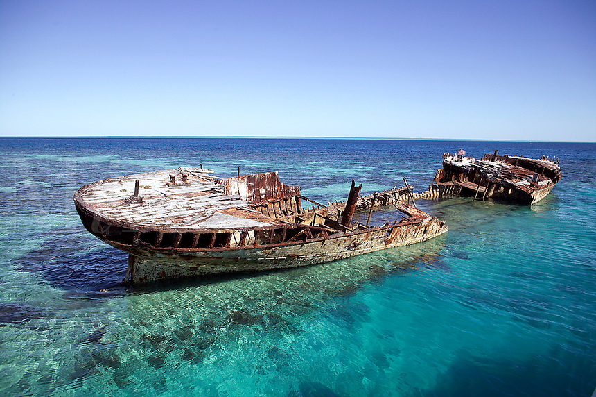 Shipwreck on Heron Isle. Barrier Reef Australi