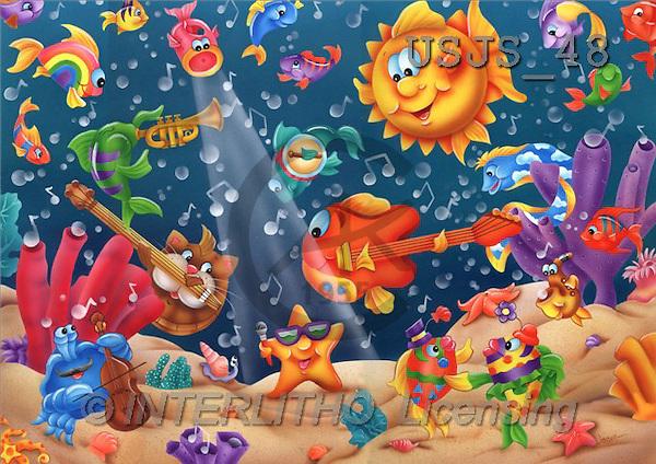 Janet, CUTE ANIMALS, puzzle, paintings, Musical Fish(USJS48,#AC#) illustrations, pinturas, rompe cabeza