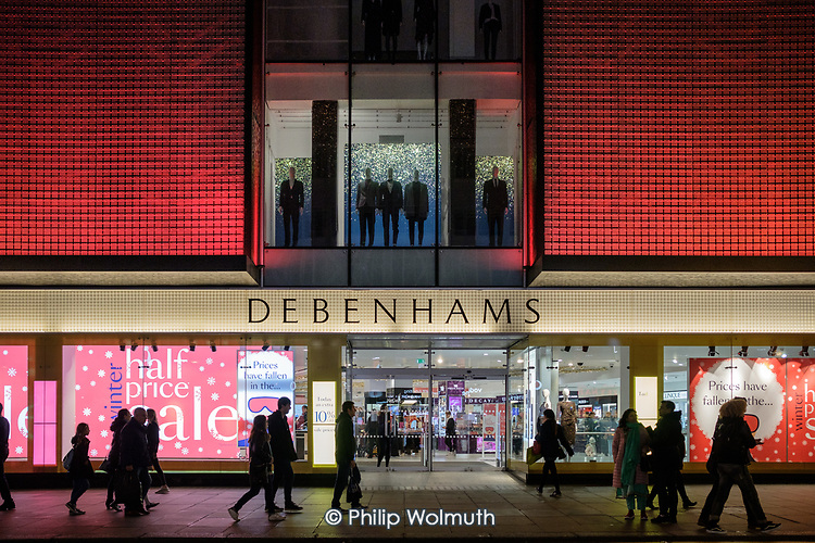 Debenhams end of year sales, Oxford Street, London.