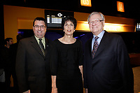 Montreal (Qc) CANADA - November 28 201 File Photo -  Michelle Courchesne, Quebec Education Minister (M) Gilles Vaillancourt ,Mayor of Laval (R),at the newly renovated  Laval COSMODOME.