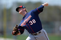 Minnesota Twins pitcher Logan Darnell (38) during a Spring Training practice on March 1, 2016 at Hammond Stadium in Fort Myers, Florida.  (Mike Janes/Four Seam Images)