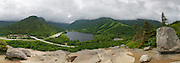 Panoramic of Cannon Mountain in Franconia Notch State Park from Artists Bluff in the White Mountains off New Hampshire USA. This image consists of five images stitched together.
