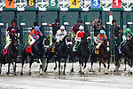 Jockey Richard Migliore aboard Unbridled Belle #7 break from the gate  Obeah Stakes at Delaware Park in New Stanton, Delaware 06.20.09