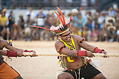 A Tapirape contestant strains on the rope during the tug of war at the International Indigenous Games, in the city of Palmas, Tocantins State, Brazil. Photo © Sue Cunningham, pictures@scphotographic.com 25th October 2015