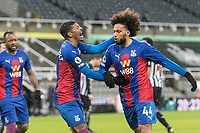 2nd February 2021; St James Park, Newcastle, Tyne and Wear, England; English Premier League Football, Newcastle United versus Crystal Palace; Jairo Riedewald of Crystal Palace celebrates scoring Crystal Palace 1st goal for 1-1 in the 21st minute with team mate Patrick van Aanholt