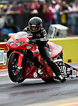 Junior Pippin #202, driver for Pirana Z's Pro Stock Motorcycle makes a run at the O'Reilly Fall Nationals held at the Texas Motorplex in  Ennis, Texas.