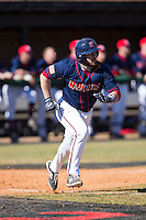 Jimmy Spanos (13) of the Shippensburg Raiders hustles down the first base line against the Belmont Abbey Crusaders at Abbey Yard on February 8, 2015 in Belmont, North Carolina.  The Raiders defeated the Crusaders 14-0.  (Brian Westerholt/Four Seam Images)