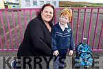 Dáithí Kenny on his first day in Glenderry NS on Tuesday with his mother Nicola Kenny.
