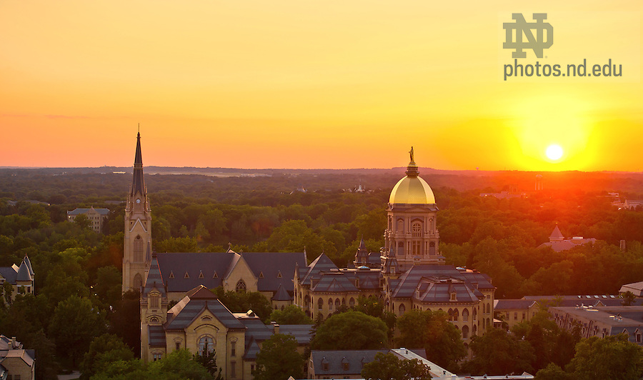 Aug. 16, 2013; Sunset over campus<br /> <br /> Photo by Matt Cashore/University of Notre Dame