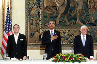 Pictured L-R: Greek Prime Minister Alexis Tsipras, US President Barack Obama and Greek President Prokopis Pavlopoulos. Tuesday 15 November 2016<br /> Re: US President Barack Obama attends official stat banquet at the Presidential Mansion during his visit to Athens Greece