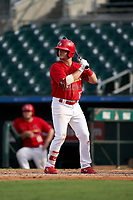 Palm Beach Cardinals Nick Dunn (12) bats during a Florida State League game against the Clearwater Threshers on August 9, 2019 at Roger Dean Chevrolet Stadium in Jupiter, Florida.  Clearwater defeated Palm Beach 5-3 in the first game of a doubleheader.  (Mike Janes/Four Seam Images)