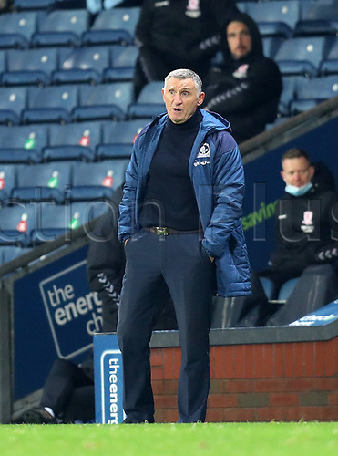 3rd November 2020; Ewood Park, Blackburn, Lancashire, England; English Football League Championship Football, Blackburn Rovers versus Middlesbrough; Blackburn Rovers manager Tony Mowbray looks on from the touchline