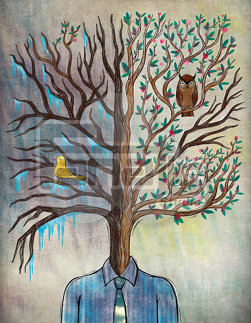 Illustration of man with tree head representing bipolar disorder