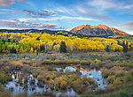 Gunnison National Forest, West Elk Mountains, CO: Sunrise light on East Beckwith Mountain, from a beaver pond near Kebler Pass