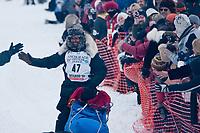 Lance Mackey team leaves the start line during the restart day of Iditarod 2009 in Willow, Alaska