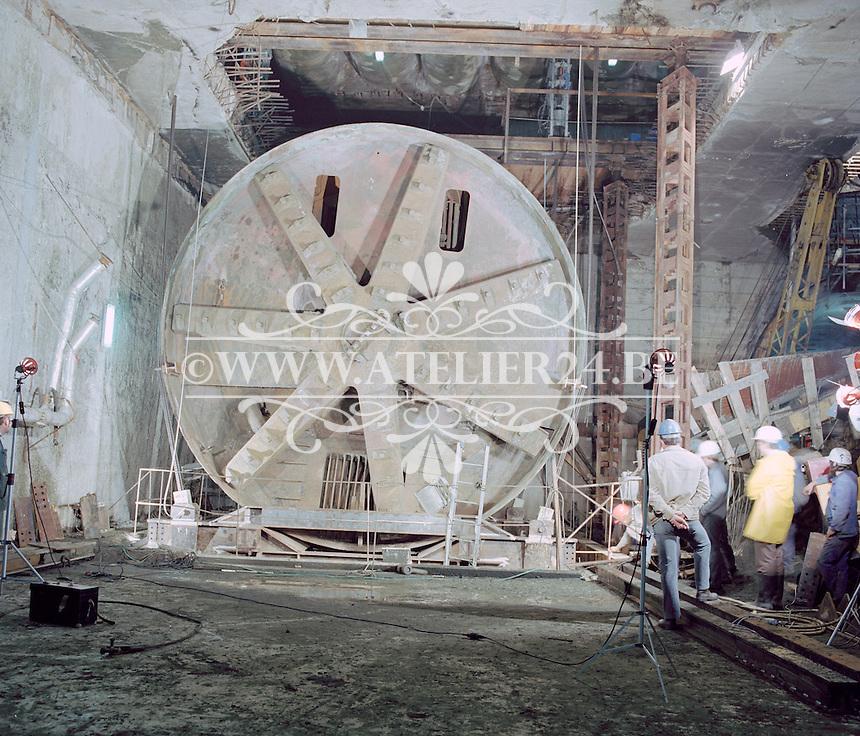 September 1980. Boorschild bij de bouw van de premetro in Antwerpen.