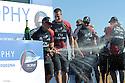 Louis Vuitton Trophy La Maddalena 6 giugno 2010. Un momento della prima e festosa parte della premiazione che si è tenuta sul palco allestito in un piazzale dell'ex arsenale. Grant Dalton uomo chiave dell'equipaggio kiwi inonda di champagne i suoi compagni