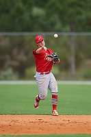 St. Louis Cardinals Dylan Tice (7) throws to first base during a Minor League Spring Training intrasquad game on March 31, 2016 at Roger Dean Sports Complex in Jupiter, Florida.  (Mike Janes/Four Seam Images)