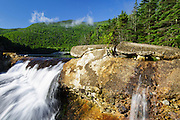 Kinsman Notch - Remnants of a dam at Beaver Pond in the White Mountains, New Hampshire USA during the spring months.