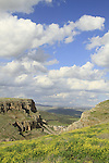 Israel, Galilee, Arbel Cliff on the right and Mount Nitai overlooking Wadi Hamam