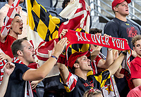 WASHINGTON, DC - SEPTEMBER 6: Maryland fans during a game between University of Virginia and University of maryland at Audi Field on September 6, 2021 in Washington, DC.