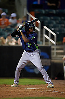 Vermont Lake Monsters Kevin Richards (24) at bat during a NY-Penn League game against the Aberdeen IronBirds on August 19, 2019 at Leidos Field at Ripken Stadium in Aberdeen, Maryland.  Aberdeen defeated Vermont 6-2.  (Mike Janes/Four Seam Images)