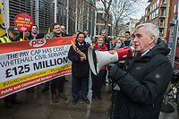 Shadow Chancellor John McDonnell joins members of the PCS (public sector) Trade Union protesting over the pay cap outside the Home Office. London 31-1-18