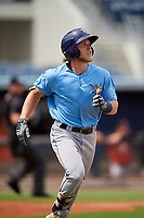 Tampa Bay Rays Taylor Walls (9) runs to first base during a Florida Instructional League game against the Baltimore Orioles on October 1, 2018 at the Charlotte Sports Park in Port Charlotte, Florida.  (Mike Janes/Four Seam Images)