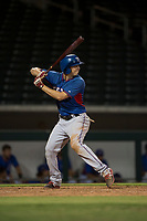 AZL Rangers designated hitter Kobie Taylor (3) at bat during an Arizona League game against the AZL Cubs 2 at Sloan Park on July 7, 2018 in Mesa, Arizona. AZL Rangers defeated AZL Cubs 2 11-2. (Zachary Lucy/Four Seam Images)