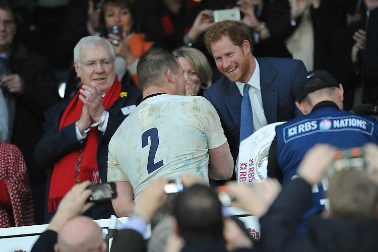 Prince Harry congratulates the new England captain Dylan Hartley during the RBS 6 Nations match between England and Wales at Twickenham Stadium on Saturday 12th March 2016 (Photo: Rob Munro/Stewart Communications)