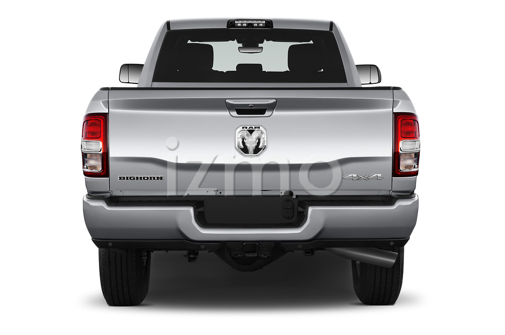 Straight rear view of a 2019 Ram 3500 Big Horn 4 Door Pick Up stock images