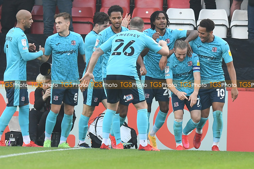 Matt Jay of Exeter City scores the second Goal and celebrates  during Stevenage vs Exeter City, Sky Bet EFL League 2 Football at the Lamex Stadium on 9th October 2021