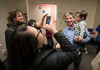 Anchorage Mayoral Candidate Ethan Berkowitz meets with supporters during a fundraiser at his campaign headquarters in midtown Anchorage. Berkowitz won the election following a runoff against Amy Demboski.