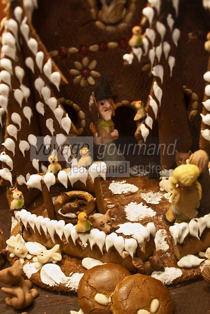 Europe/Autriche/Niederösterreich/Vienne: Détail des vitrines de Noël du centre ville - Détail crèche en pain d'épice