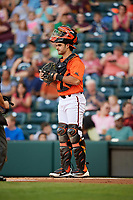 Richmond Flying Squirrels catcher Aramis Garcia (14) during a game against the Trenton Thunder on May 11, 2018 at The Diamond in Richmond, Virginia.  Richmond defeated Trenton 6-1.  (Mike Janes/Four Seam Images)