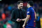 FC Barcelona's Luis Suarez (r) and Atletico de Madrid's coach Diego Pablo Cholo Simeone have words after La Liga match. March 4,2018. (ALTERPHOTOS/Acero)
